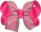 Khaki Canvas with Shocking Pink Stripe and White Dots over Shocking Pink Medium Double Layer Bow