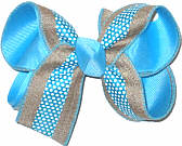 Khaki Canvas with Mystic Blue Stripe and White Dots over Mystic Blue Medium Double Layer Bow