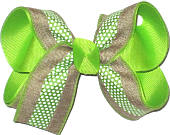 Khaki Canvas with Lypple Stripe and White Dots over Lypple Medium Double Layer Bow