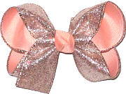 Rose Pink Glitter over Light Peach Grosgrain Medium Double Layer Bow
