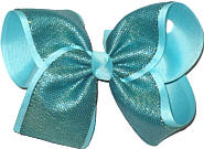 Dark Aqua Shimmering Mesh over Aqua Grosgrain MEGA Extra Large Double Layer Bow