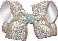 Khaki Canvas with Printed White Lace and Glitter over White Large Double Layer Bow