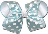 Light Blue with White Dots over White Large Double Layer Bow