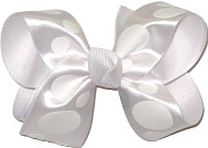 White Satin Dots over White Grosgrain Medium Double Layer Bow