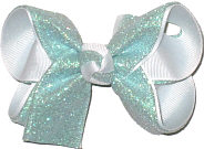 Aqua Glitter over White Grosgrain Medium Double Layer Bow