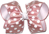 Mauve with White Dots over White Grosgrain MEGA Extra Large Double Layer Bow