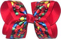 Large M&M Candy over Red Grosgrain Large Double Layer Bow