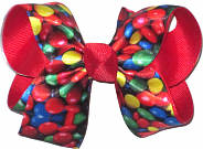 Medium M&M Candy over Red Grosgrain Medium Double Layer Bow