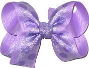 Light Orchid Ciffon Dots over Light Orchid Grosgrain Medium Double Layer Bow