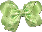 Lime Juice CHiffon Dots over Lime Juice Grosgrain Medium Double Layer Bow