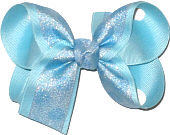 Ocean Blue Chiffon Dots over Ocean Blue Grosgrain Medium Double Layer Bow