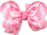 Pink Chiffon Dots over Light Pink Grosgrain Medium Double Layer Bow