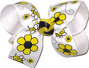 Bubble Bees and Daisies Medium Double Layer Bow