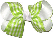 Apple Green and White Check over White Grosgrain Medium Double Layer Bow