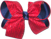 Large Red Glitter Stripes over Navy Grosgrain School Bow
