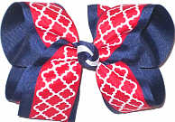 Large Red and White Quatrafoil over Navy Grosgrain School Bow