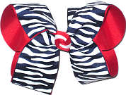 Large Navy and White Zebra Stripes over Red Grosgrain School Bow