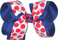 Large White with Red Coin Dots over Century Blue Grosgrain School Bow
