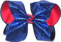 Large Century BLue Glitter over Red Grosgrain School Bow