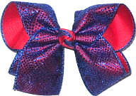 Large Century Blue Chiffon Glitter Dots over Red Grosgrain School Bow