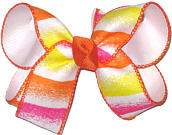 Hot Pink White Orange and Maize Stripes over White Medium Double Layer Bow