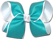 Blue Lagoon Sparkle Glitter over White Large Double Layer Bow