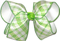 Green and White Check over White MEGA Extra Large Double Layer Bow