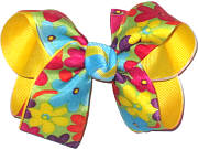 Multicolor Floral Print over Maize Medium Double Layer Bow
