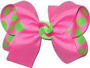 Hot Pink over Hot Pink with Green Dots Medium Double Layer Bow