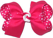 Shocking Pink over Shocking Pink with White Dots Medium Double Layer Bow