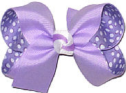 Light Orchid over Orchid with White Dots Medium Double Layer Bow