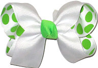 White over White with Green Dots Medium Double Layer Bow