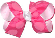 Hot Pink with Pink Dots over White Medium Double Layer Bow