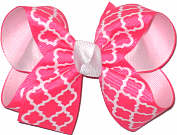 Tutti Fruiti and White Medium Double Layer Bow