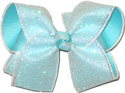 Large White Iridescent Glitter Mesh over Aqua Double Layer Overlay Bow