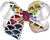 Rainbow Metallic Scales over White Medium Double Layer Bow