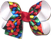 M&M Candy Print over White Medium Double Layer Bow