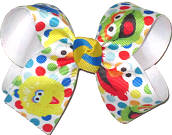 Sesame Street Big Bird Elmo Cookie Monster and Oscar Medium Double Layer Bow
