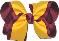 Yellow Gold and Beet Large Double Layer Bow