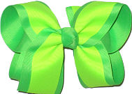 Neon Lime and Neon Green Large Double Layer Bow