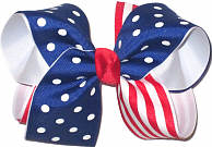 Century Blue with White Dot and Red and White Stripe Large Double Layer Bow