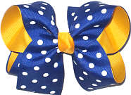 Century Blue with White Dots over Yellow Gold Large Double Layer Bow