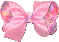 Pink over Satin Floral Print Medium Double Layer Bow