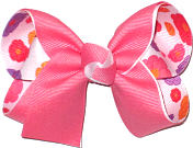 Watermelon over Floral Print on White Medium Double Layer Bow
