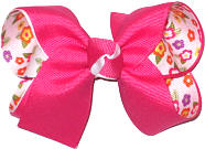 Shocking Pink over Floral Print on White Medium Double Layer Bow