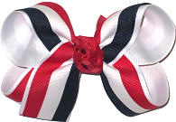 Red White and Navy Stripes over White Medium Double Layer Bow