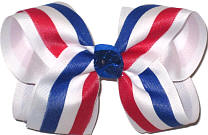 Red White and Blue Stripes over White Large Double Layer Bow