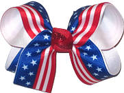 USA Flag Print over White Medium Double Layer Bow