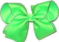 Silver Glitter Chiffon over Neon Green Large Double Layer Bow