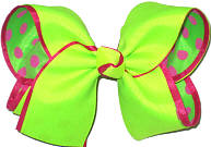 Neon Lime over Shocking Pink Dot Chiffon Large Double Layer Bow